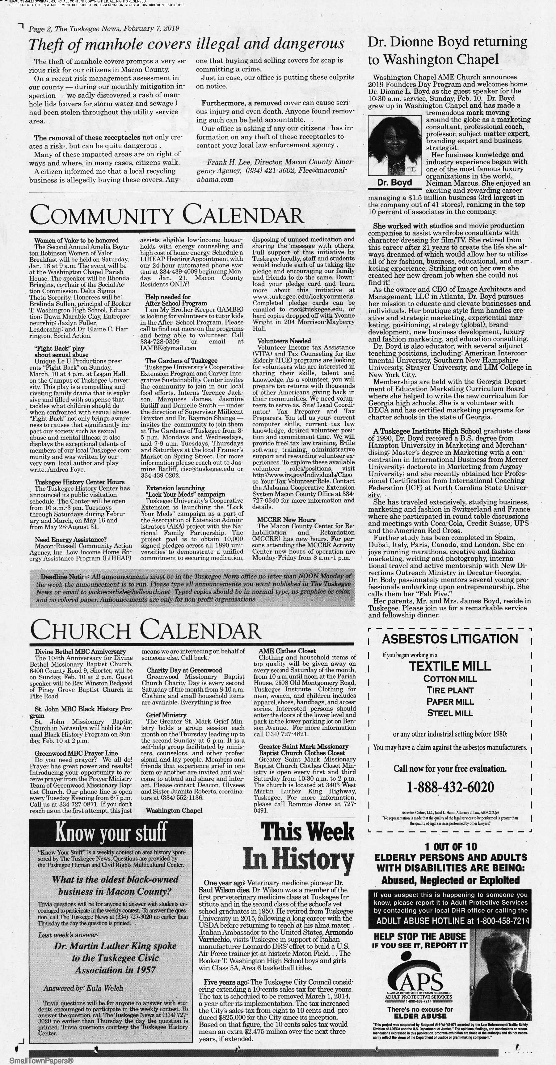 The Tuskegee News February 7, 2019: Page 2